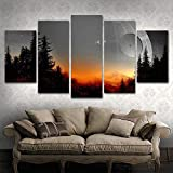BOYH Modular Canvas Pictures Wall Art Framed 5 Pieces Star Wars Tree Death Star Painting Living Room Prints Movie Poster Home Decor,A,30502+30702+30801