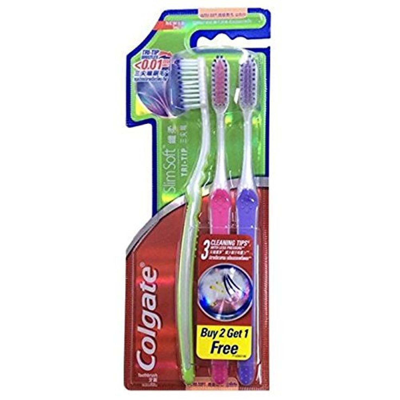 ロッドつまずくとまり木Colgate Compact Ultra Soft Tri-Tip | Slim Soft Toothbrush, Family Pack (3 Bristles) by BeautyBreeze