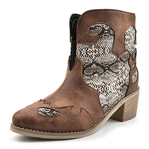 100FIXEO Fashion Womens Western Country Boots Snakeskin Round Toe Block Mid Stacked Heel Elastic Band Side Zipper Short Boots Sewing Cowboy Boots (Brown 10)