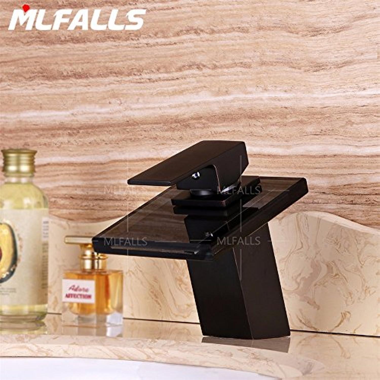 Bijjaladeva Wasserhahn Bad Wasserfall Mischbatterie Waschbecken WaschtischMessing Glas Orb Schwarz Single Ein Loch Keramik Ventil heie und Kalte Tauchbecken Waschbecken Griff