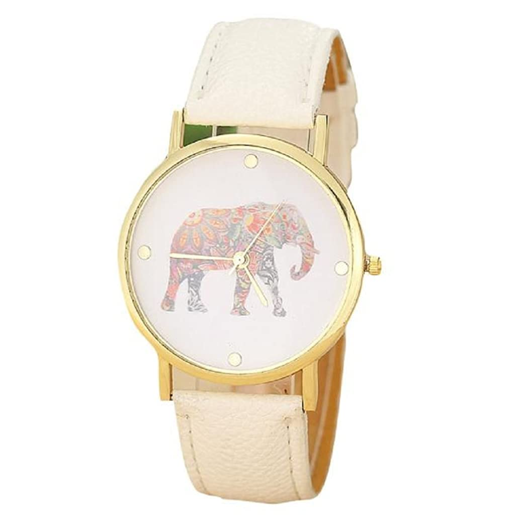 Fitfulvan Fashion Women Dress wrist Watch, Elephant Printing Pattern PU Leather Quartz Dial Casual Watch