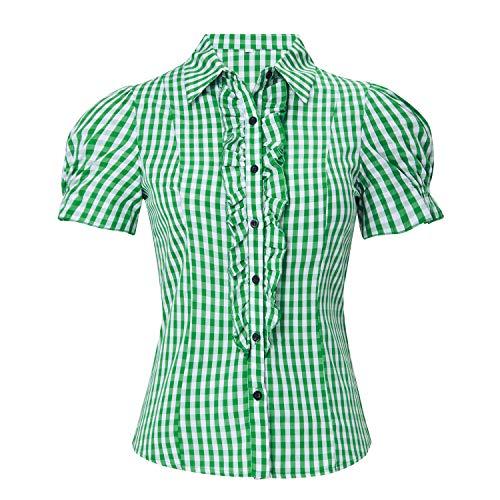 ALISISTER Trachtenbluse Damen Kurzarm Trachten Bluse Grün-Weiß Kariert Landhaus Rüschenbluse für Rock Jeans oder Lederhose L
