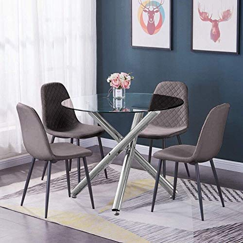 Huisen Furniture Round Glass Kitchen Dining Table and Chairs Set of 4 Grey Velvet Upholstered Office Reception Occasional Chairs and Clear Tempered Glass Table Conversational Table and Chairs Set