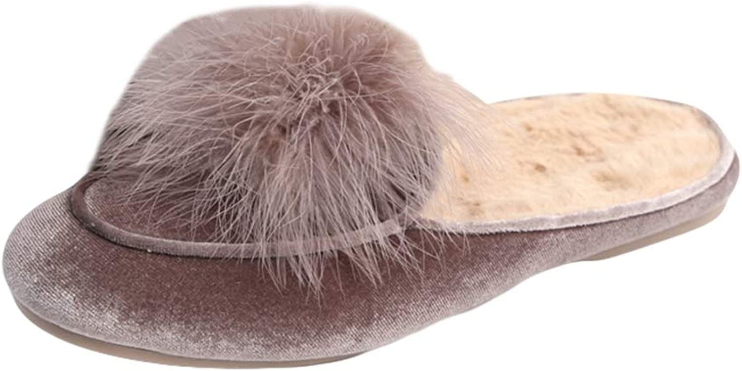 LIVEINU Women's Furry Faux Fur Lined Mule Slippers Indoor Clog Non Slip Plush Fleece House Slippers Pompoms