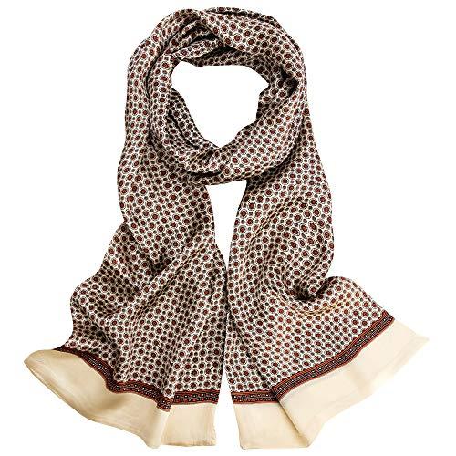 LDCSA Seidenschal Herren 100% Seide Schal Doppellagig aus Satin Seidentuch krawatte Tuch im Winter 160 x 30cm (Golden) MEHRWEG