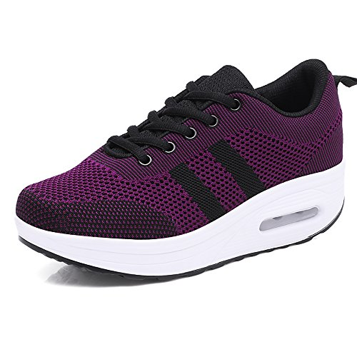 Platform Shoes Running for Women Wedge Lace up Gym Air Cushion Sneakers Shock Absorbing Thick Sole 5 cm Pumps Outdoor Sport Purple 36