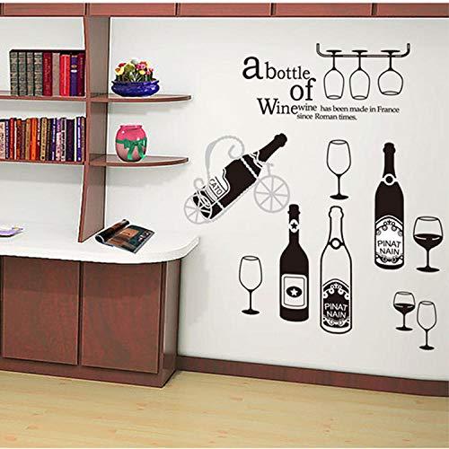 Huisdecoratie PVC Groen Wijnglas rood Wijnfles Art Muurstickers Woonkamer Slaapkamer Decoratie Decal Grootte 60x90cm