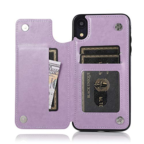 ACXLIFE iPhone XR Case XR Card Credit Holder Wallet Protective Cover with Card Slot and Leather Case for iPhone XR 6.1Inch (Purple)