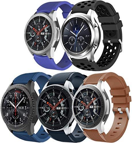Simpleas Correa de Reloj Recambios Correa Relojes Caucho Compatible con Amazfit Pace/Stratos/GTR 47mm - Silicona Correa Reloj con Hebilla (22mm, 5PCS B)