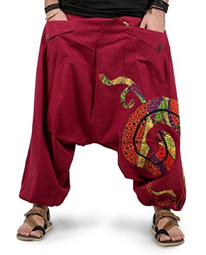 THS Mens Harem Pants with Patchwork Design (Maroon)