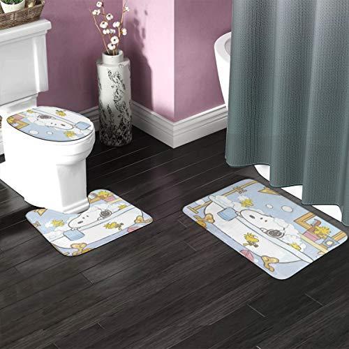 Bath Rug Sets 3 Piece for Bathroom Non Slip Bath Mat Set Snoopy Bathing Bath Rug Set Contour Mat, Mat and Lid Cover