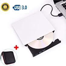 External DVD CD Drive, USB 3.0 Portable CD DVD +/-RW Drive Slim DVD/CD ROM Rewriter Writer Reader, High Speed Data Transfer for Laptop MacBook Desktop PC, Plug and Play with Protective Storage Case