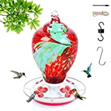 Hummingbird feeders for Outdoors, 28 Ounces Nectar Capacity Hummingbird Feeder with Upgraded Round Stand and 4 Feeding Ports, Handmade Glass Wild Bird Feeders for Outdoors in Garden, Yard