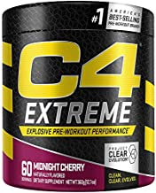 C4 Extreme Pre Workout Powder Midnight Cherry | Preworkout Energy Supplement for Men & Women | 200mg Caffeine + Beta Alanine + Creatine | 60 Servings