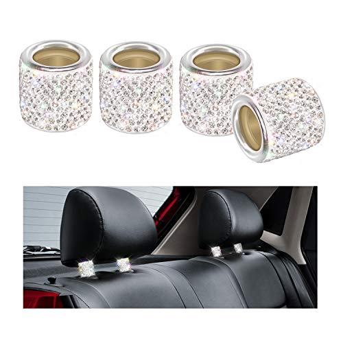 Auto Kopfstützen Halsbänder, YINUO 4 Stück Kristall Universal Chrom Auto Innendekoration Bling Auto Zubehör für Frauen - Silber