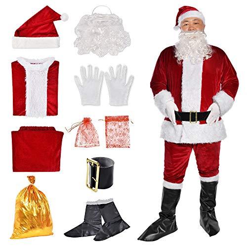 Christmas Santa Claus Suit Santa Fancy Suits Outfit Adult Men's Santa Costume Xmas Classic Flannel Cosplay Clothes (Crimson)
