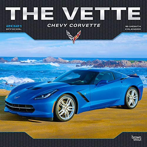 The Vette Chevy Corvette 2021 12 x 12 Inch Monthly Square Wall Calendar with Foil Stamped Cover, Chevrolet Motor Muscle Car
