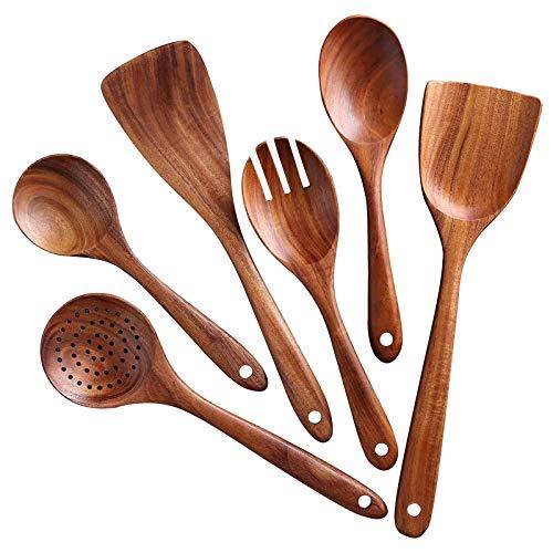 Juego de 6 utensilios de cocina de madera de teca natural antiadherente, cucharas y espátula, juego de herramientas de cocina de madera antiadherente para cocinar, incluye cucharón tenedor