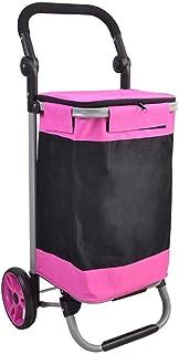 LQBDJPYS Folding Shopping Trolley Wheeled Push Cart 2 Wheels Luggage Cart Handle Foldable Red Large Capacity Waterproof St...