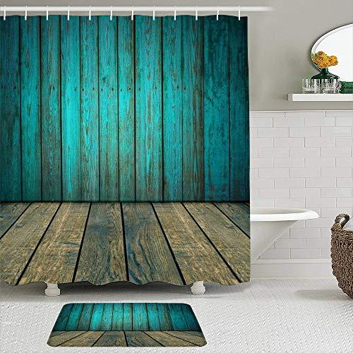 TARTINY 2-teiliges Duschvorhang-Set mit rutschfesten Teppichen,Alte Blaue Holzplanke Hintergrund mit Boden Vintage Holzbrettplatten Wand Grunge Hartholz Zaun mit 12 Haken