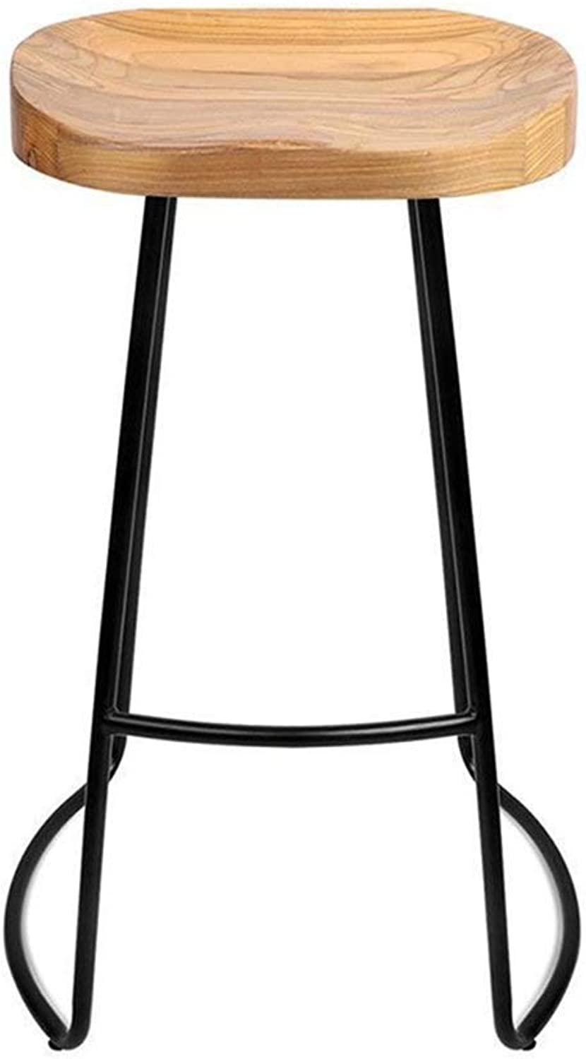 MMAXZ Bar stoolsBar Chair,Bar Stool Solid Wood Wrought Iron high Stool Retro bar Stool Dining Chair Wooden seat Metal Legs (Size   45CM, Style   Style C)
