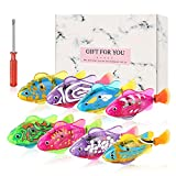 Creative Cat Fish Toys 8 Packs with 32 LR44 Batteries and 4 Swimming Modes LED Water Robot for Large Medium Small Cats