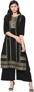 Ziyaa Women's Black Color Straight Foil Print Kurta Palazzo Set (ZIKUCR2452ANDPL)