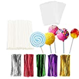 TAIHUIMY 360Pcs 6inch Lollipop Sticks, Cake Pop Lollipops, Chocolates and Cookies Bag Set Including 120 Parcel Bags, 120 Papery Treat Sticks, 120 Solid Color Twist Ties