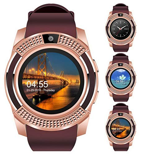 Fantiff Smartwatch Bluetooth Smart Watch multinationale Voice Fitness Tracker Sportuhr mit Kamera Schrittzähler Schlaf Tracker Kompatibel für Android Smartphon