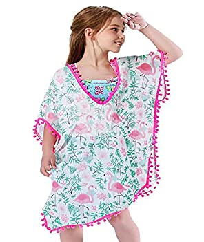 Kids Girls Cute Bathing Suits 4t 5t Breathable Flamingos Pattern Swimsuit Covers up Attractive Quick Dry Tropical Cardigan Shawls Tops for Hawaiian Camp Day 10-12T