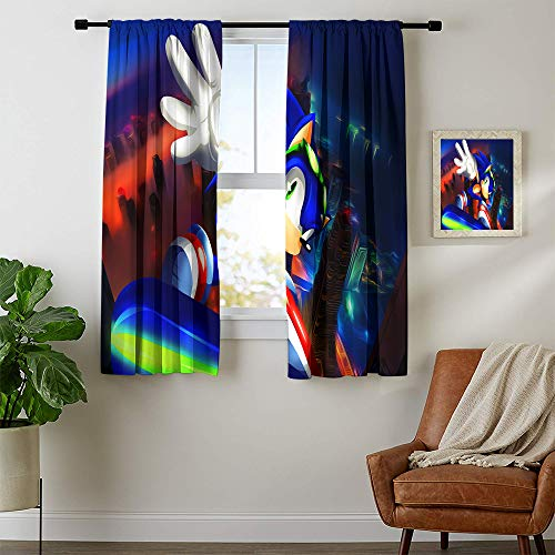 Decorative Curtains, Sonic The Hedgehog Blaze The Cat Curtains for child bedroom, Blackout Window Curtain W42 x L54 Inch