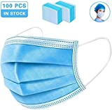 50/60/ 70/80/ 90/ 100pcs maschera monouso, con orecchini elastici maschera di sicurezza per protezione da polveri tre strati maschera tessuto non tessuto,100pcs
