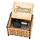 Youtang Caja de música de piratas del Caribe con mecanismo de cuerda de 18 notas, caja de música de madera grabada, tema Davy Jones, color marrón