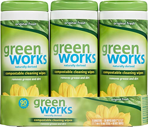 Green Works Compostable Cleaning Wipes, Biodegradable Cleaning Wipes - Original Fresh, 90 Count