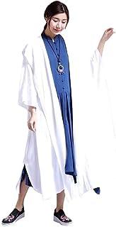 Howely Women Linen Poncho Coat Oversized Midi Hoodie Open Windbreaker Jacket