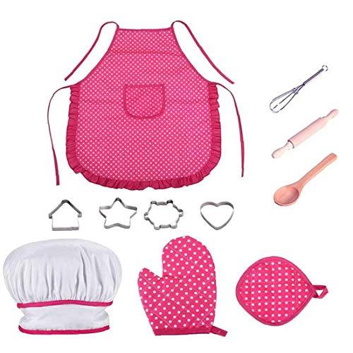 Adore store Kinder Koch-Set, DIY Kochen und Backen-Set, Spielzeug-Set, Schürze Handschuhe Hut Kochgeschirr Geschirr, für den Tag der Kinder Kinder, rosa