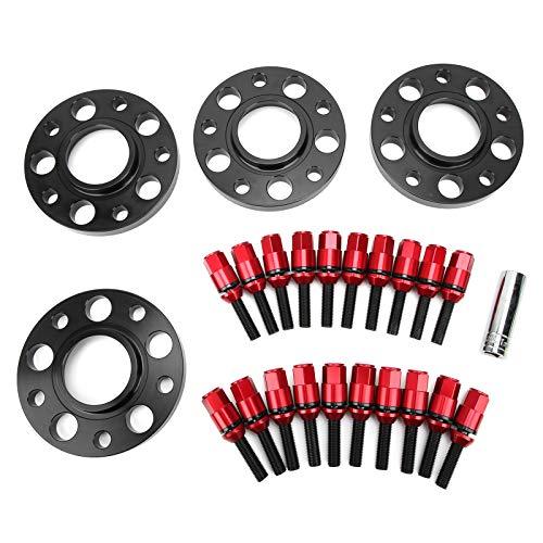 Adaptadores de espaciadores de rueda, CNC con brida de aluminio espaciadores de rueda espaciadores de rueda centrados en el cubo Kit escalonado con pernos Fundas aptas para 1 3 5 6 7 8 SERIES(rojo)