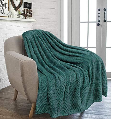 RayyanLinen Überwurf mit Waffelkamm & Wabenmuster, superweich, luxuriös, vielseitig verwendbar, Sofa-/Tagesdecke, Reisedecke, Smaragdgrün, Doppelbett – 150 x 200 cm