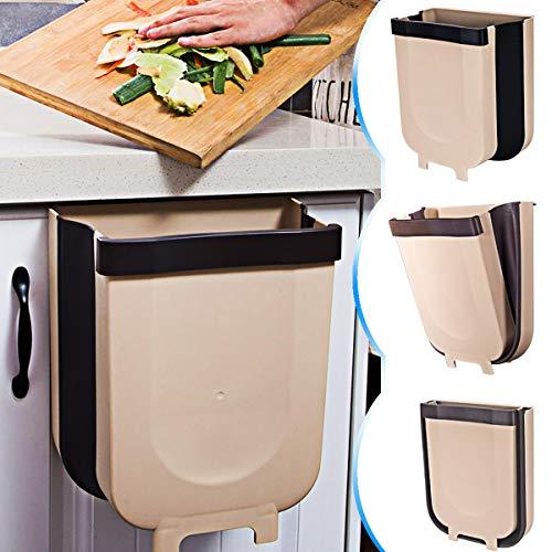 DUTISON Kitchen Poubelle Pliable Wall Mounted pour Voiture Bureau à Domicile 9L Cuisine Can (Marron)