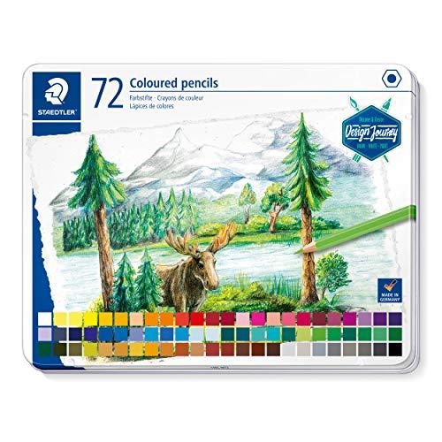 STAEDTLER Buntstifte, klassisches Sechskantformat, weiche Mine, hoch pigmentierte Farben, Metalletui mit 72 leuchtenden Farben, 146C 72