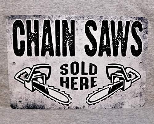 Ol322ay Metal Sign CHAIN SAWS verkocht hier kettingzaag elektrisch gereedschap concurrent snijden hardware winkel art sawyer aluminium garage man grot