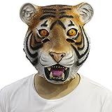 CUSFULL Máscara de Tigre Disfraz de Animal Halloween Horror Máscara de Goma Caucho de Terror Cabeza Talla Única para Adulto Fiesta