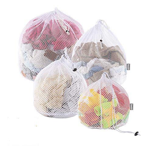 Yoassi 4 Stück Wäschenetze Waeschesack Waschmaschine mit Kordelstopper Wäschebeutel Wäschesack für Waschmaschine, Unterwäsche, Babywäsche, Socken, Kaschmir