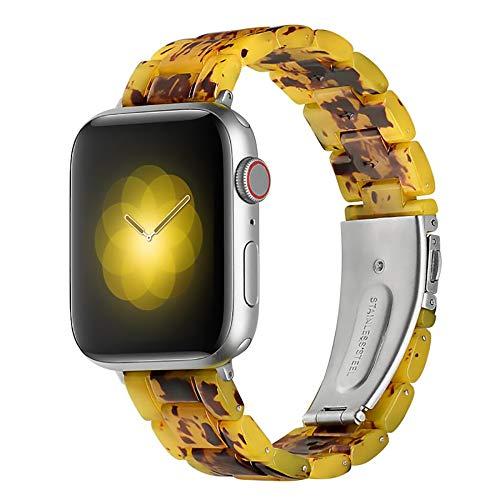 WAY-KE Correa De Reloj Inteligente Compatible con Apple Watch 38MM 42MM Correa De Repuesto De Resina para Correa De Muñeca Iwatch Series 12 3 4,Amber,42MM