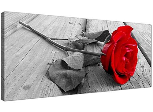 Wallfillers Blanco y Negro Lienzo de un Rojo de Flor–Rosa Floral Lienzo–1005