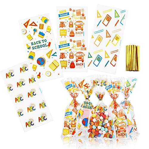 KESOTO 100 Pieces Back to School Goodie Bags, Clear Cellophane Candy Treat Bags Bulk with Twist Ties for Back to School Party Favor Supplies Decorations