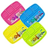 Plaskidy Kids Plastic 4-Compartment Plates With Dividers - Set of 4 Toddler Divided Plate Brightly Colored Children Divided Tray Dishwasher Safe BPA Free With Fun Zoo Design