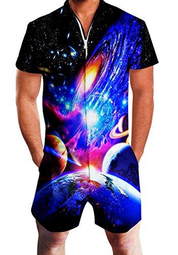 RAISEVERN Mens Galaxy Planet Print Reißverschluss Jumpsuit Kurze Cargo Pants Strampler Slim Fit Party Overalls Boyfriend Shorts