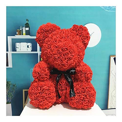 40cm Valentine Rose Bär Artificial Rose Bär Teddybär Geburtstag Romantisches Geschenk for Frauen Valentines Geschenk (Color : Red)