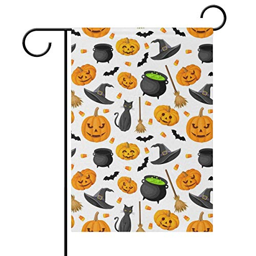 Sweetmen Horror Halloween Double Sided Polyester Garden Flag 12 X 18 Inches Witch Black Cat Decorative Large House Flag for Party Yard Home Decor